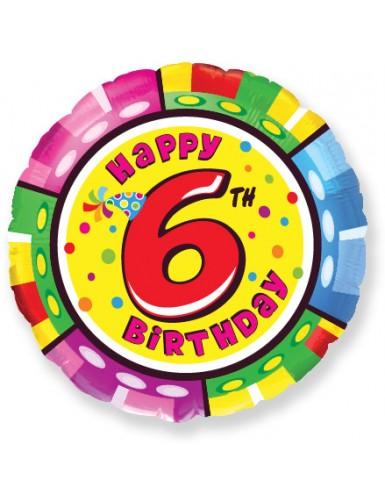 Globo de Helio Redondo 45cm Happy Birthday Nº6 Seis Globos Redondos 45cm cumpleaños